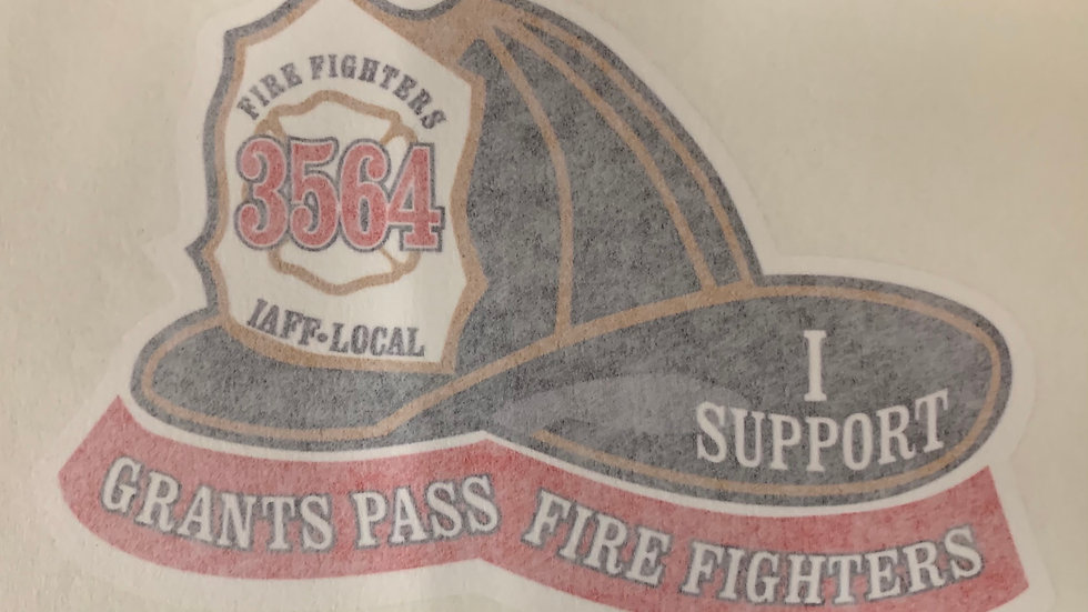"""""""I Support Grants Pass Fire Fighters"""" decal"""