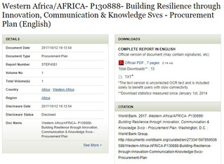 Western Africa/AFRICA- P130888- Building Resilience through Innovation, Communication & Knowledg