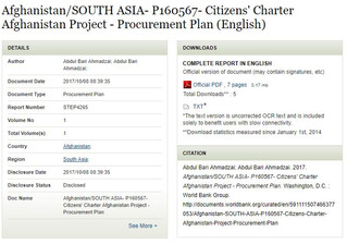 Afghanistan/SOUTH ASIA- P160567- Citizens' Charter Afghanistan Project - Procurement Plan (Engli