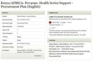 Kenya/AFRICA- P074091- Health Sector Support - Procurement Plan (English)