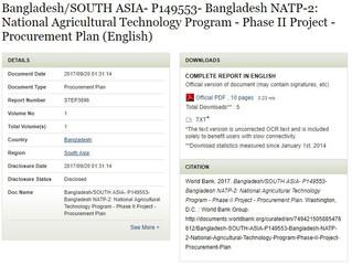 Bangladesh/SOUTH ASIA- P149553- Bangladesh NATP-2: National Agricultural Technology Program - Phase