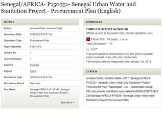 Senegal/AFRICA- P150351- Senegal Urban Water and Sanitation Project - Procurement Plan (English)