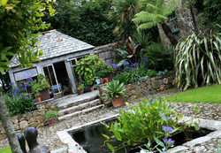 Traditional Cornish garden with pond