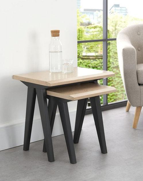 Brunel Chalk Oak and Gunmetal Nest of 2 Table