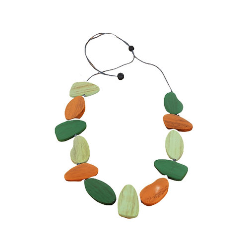 Orange and Green Wooden Necklace