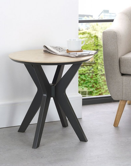 Brunel Chalk Oak and Gunmetal Round Lamp Table