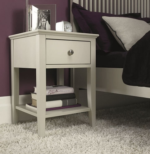 Ashby Soft Grey One Drawer Bedside Table