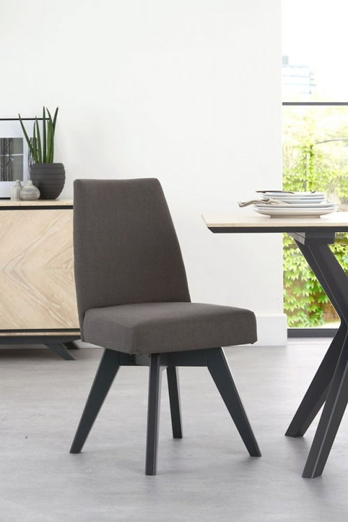 Brunel Swivel Cold Steel Fabric Upholstered Dining Chair (Pair)
