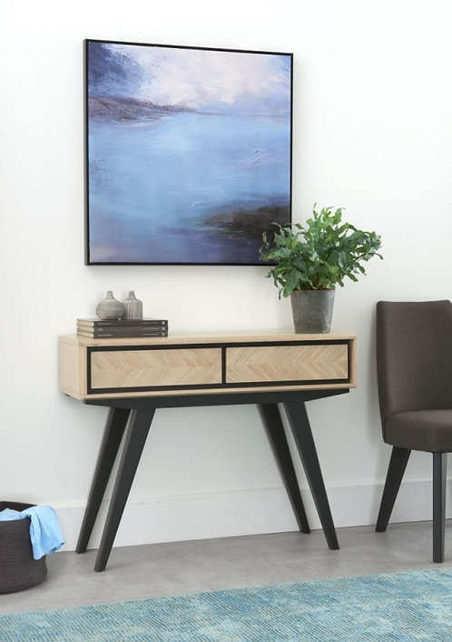 BrunelChalk Oak and Gunmetal 2 Drawer Console Table