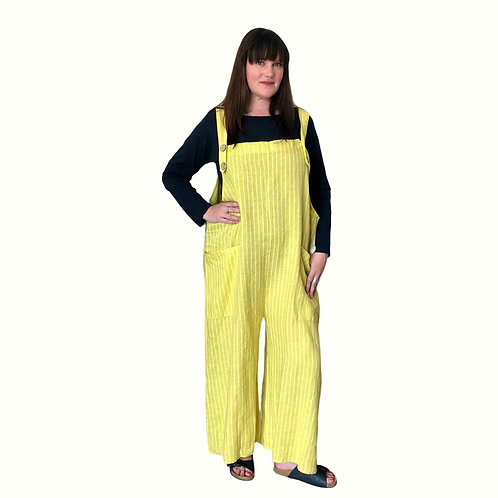 Linen Dungarees - Striped