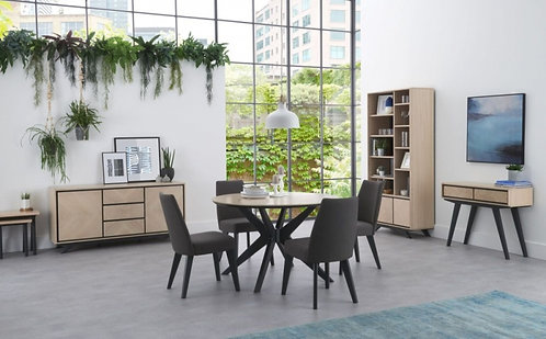 Brunel Chalk Oak and Gunmetal Round 4 Seater Dining Table
