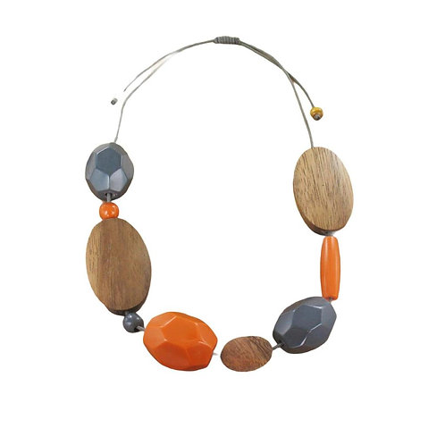 Orange and Grey Chunky Wooden Necklace