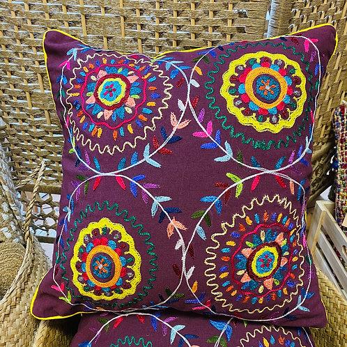Purple Fairtrade Embroidered Cushion