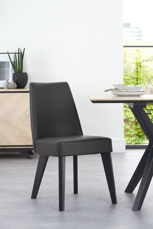 Brunel Fixed Grey Bonded Leather Upholstered Dining Chair (Pair)