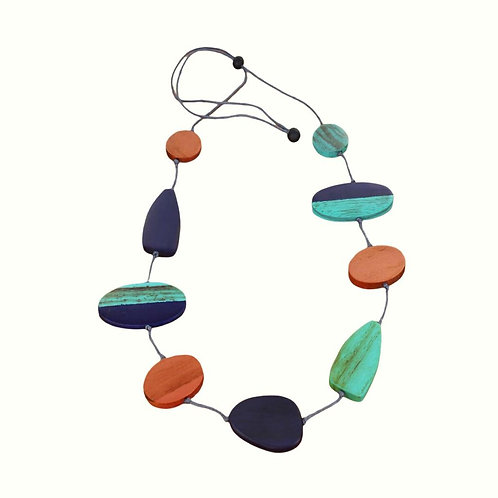 Mixed shape Long adjustable wooden necklace