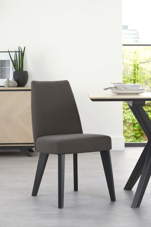 Brunel Fixed Cold Steel Fabric Upholstered Dining Chair (Pair)