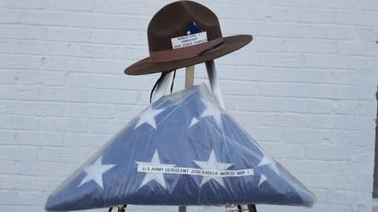 U.S flag of Jose Maria Padilla and World War I replica Campaign Hat