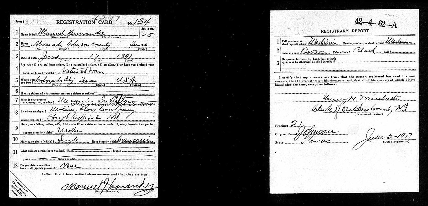Manuel Hernandez Registration Draft Card