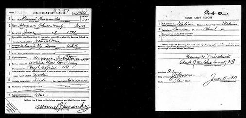 Manuel Hernandez Registration Draft Card