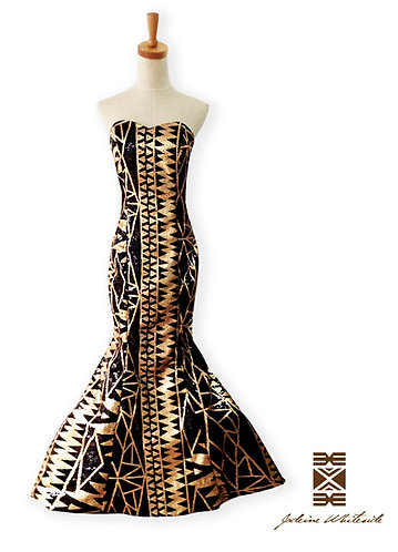 Black & Gold Print Gown
