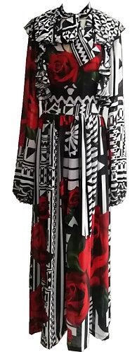 Flowy Sleeve Tapa Rose Maxi Dress