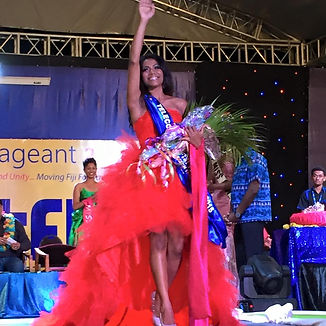 Miss Fiji red hibiscus gown