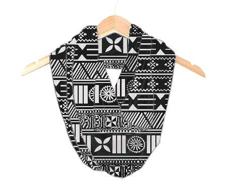 Fijian Tapa Print 100% Silk Scraf