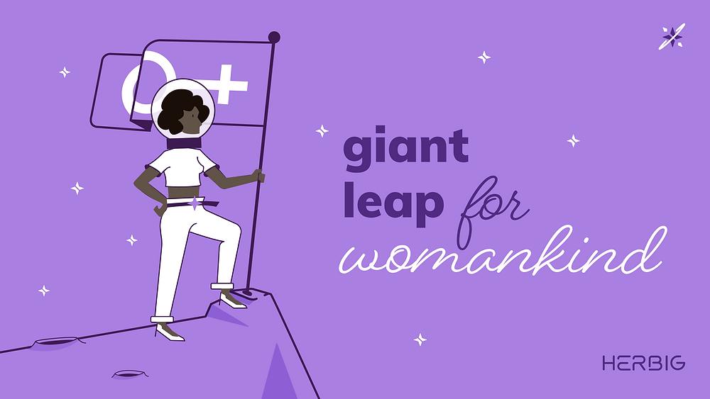 "Símbolo Herbig Financas para mulheres. Astronauta com a frase ""Giant leap for womankind"""
