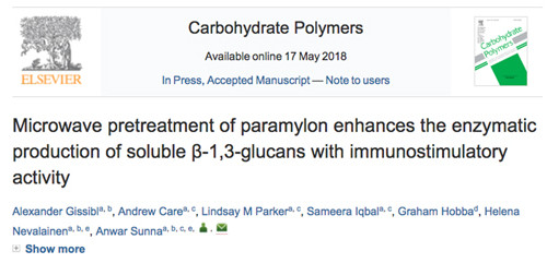 Alex new publication on soluble glucans with immunostimulatory activity