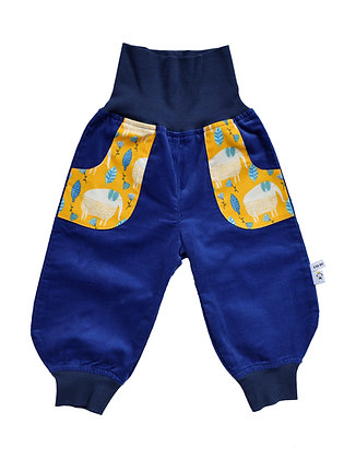 Bio Baby-Cord-Pumphose Blaue Elefanten/ bio pants Blue Elephants