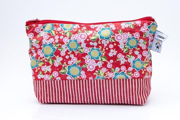 Kosmetiketui rot gestreift/ cosmetic bag - red stripes