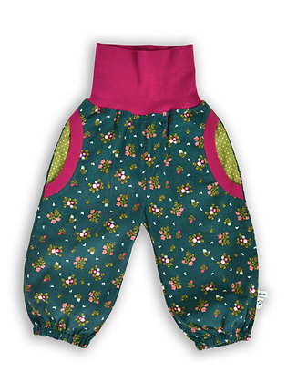 Baby-Cord-Pumphose Flower Power petrol / pants  Flower Power petrol