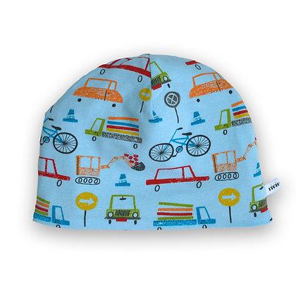 Wendbare Kindermütze Autos / Reversible beanie Cars