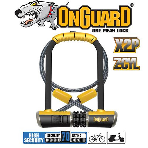 On Guard Bulldog DT Combo - Shackle 11.5cm x 23cm D 13mm Cable 120cm x 10mm