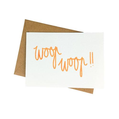 Woop Woop - postkaart zeefdruk