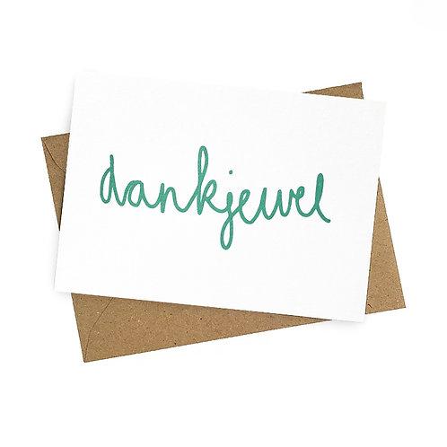 Dankjewel - postkaart zeefdruk