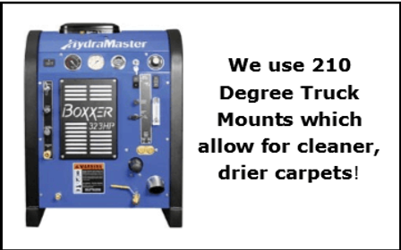 Stat Carpet Cleaning uses truck mount steam cleaning