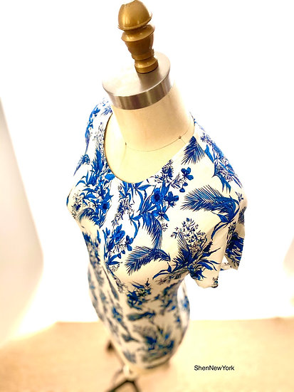 Blue Toile Cap Sleeve Size-2