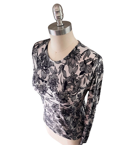 Charcoal Beige Floral Print Jersey Top 0, 1