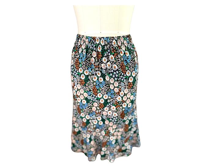 Black/ Bright Mini Floral Rayon Jersey Skirt Size-1