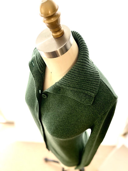 Ribbed Collar Cardigan Jade 1, 2, 3