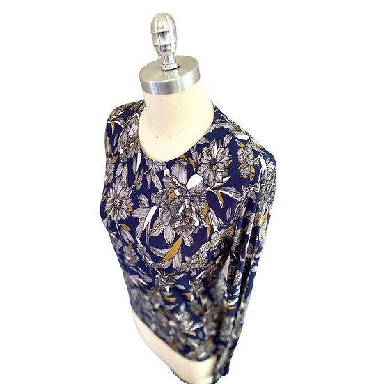 Navy/Gray Leaf Top Size-0, 2