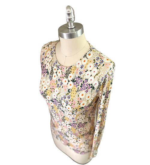 Beige/White Floral Print Jersey Top 2