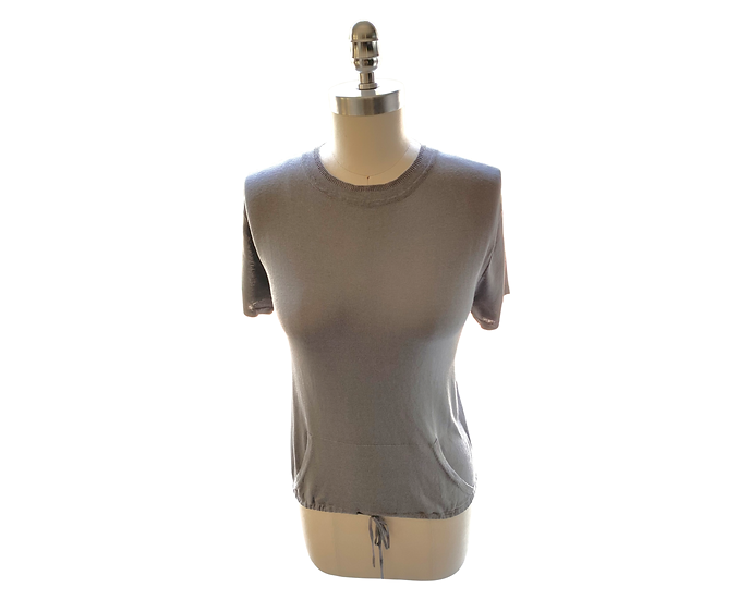 Silk/Cotton Super Fine Knit Drawstring Pocket Silver