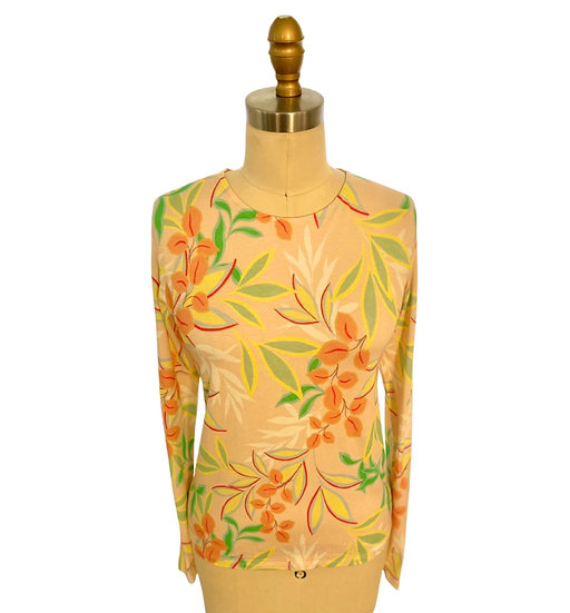 Peach/Yellow Leaf Printed Jersey Top 1, 2, 3