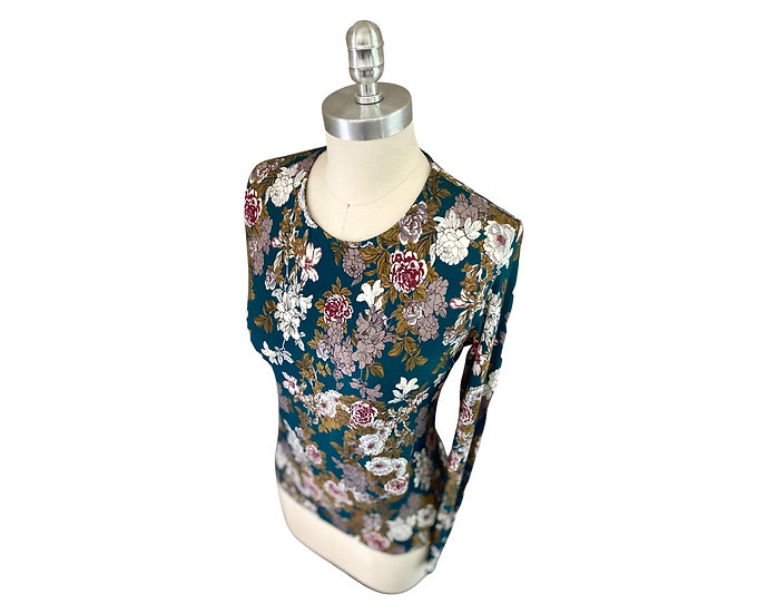 Green/gray/gold Floral Print Jersey Top 3