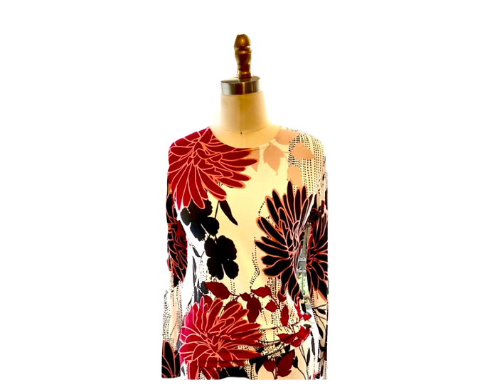 Red Flower/ White Print Top 1, 3