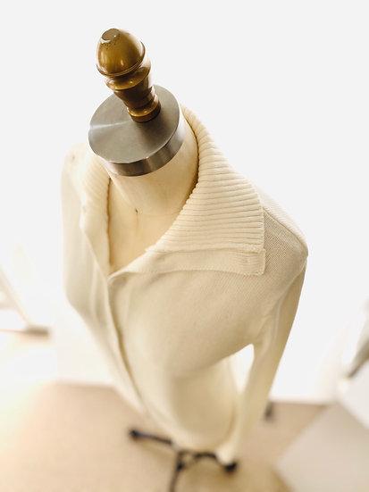 Ribbed Collar Cardigan- White 0, 1, 2, 3