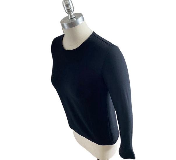 Rayon Matte Jersey Tulip Sleeves Wave Top Black 1