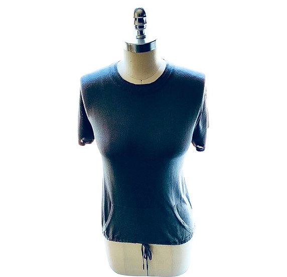 Silk/Cotton Super Fine Knit Drawstring Pocket Navy